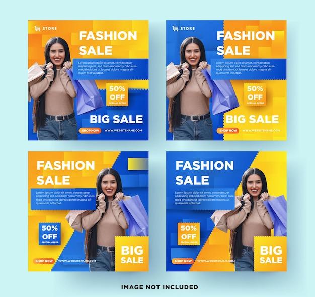 Zestaw bannerów mediów społecznościowych sprzedaży mody