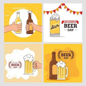 Zestaw bannerów, międzynarodowego dnia piwa, uroczystość sierpniowa z dekoracją