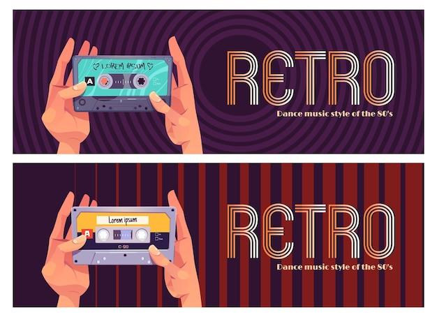 Zestaw bannerów muzyki retro dance