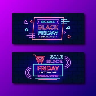 Zestaw bannerów neon czarny piątek