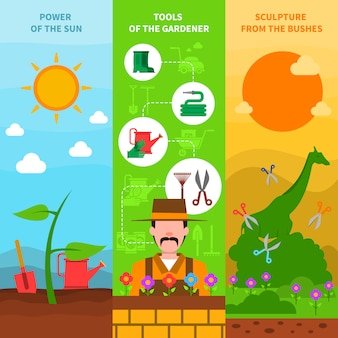 Zestaw bannerów ogrodniczych