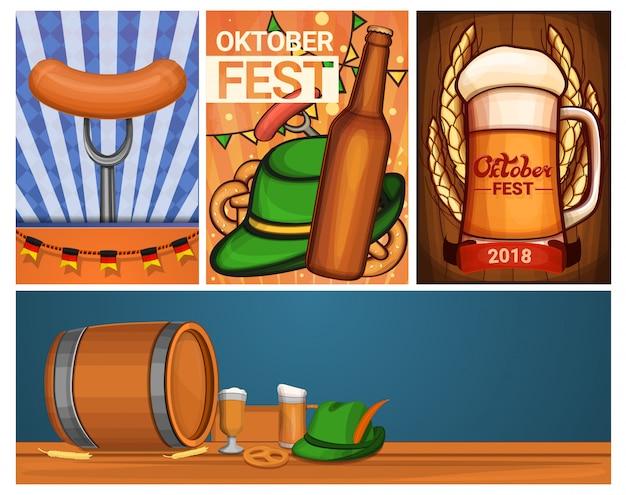 Zestaw bannerów oktoberfest, styl kreskówki