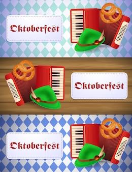 Zestaw bannerów oktoberfest z akordeonem