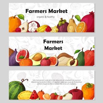 Zestaw bannerów owoców ekologicznych