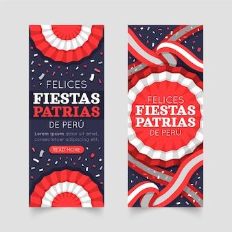 Zestaw bannerów płaskich fiestas patrias de peru