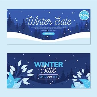 Zestaw bannerów płaskiej sprzedaży zimowej