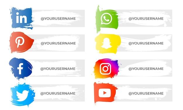 Zestaw bannerów pociągnięć pędzlem z ikonami mediów społecznościowych