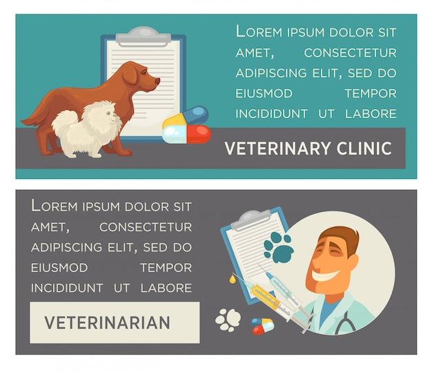 Zestaw bannerów poziomych. opieki nad zwierzętami. klinika weterynaryjna. płaska konstrukcja.