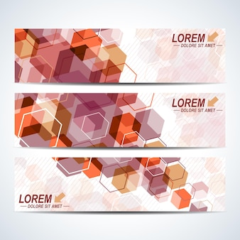 Zestaw bannerów poziomych wektor. tło z kolorowymi sześciokątami. nowoczesny stylowy design.
