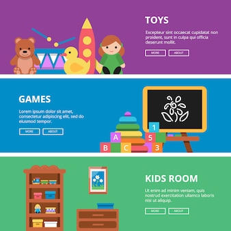 Zestaw bannerów poziomych z zabawkami dla dzieci