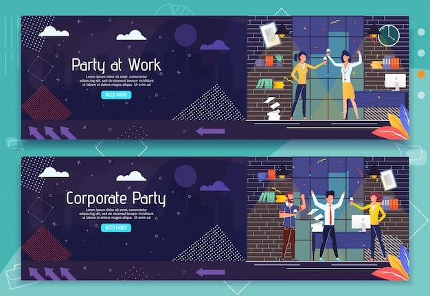 Zestaw bannerów reklamowych przyjęcie w pracy i odpoczynek zespołu biznesowego