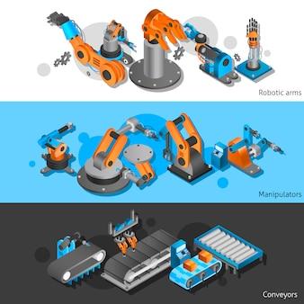 Zestaw bannerów robotów przemysłowych