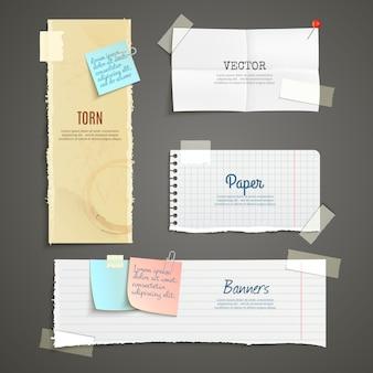 Zestaw bannerów rozdartego papieru