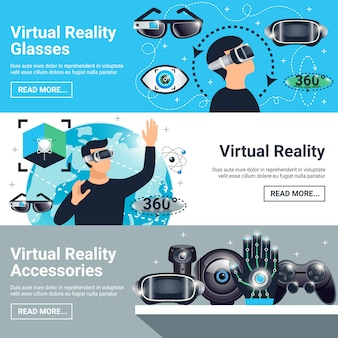 Zestaw bannerów rzeczywistości wirtualnej