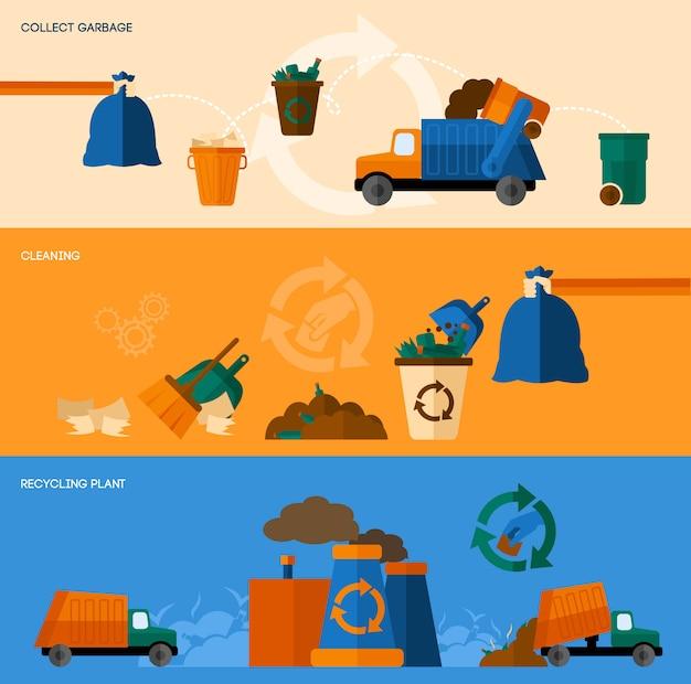 Zestaw bannerów śmieci