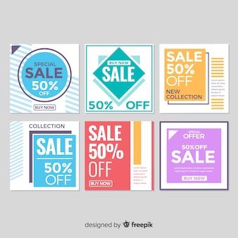 Zestaw bannerów sprzedaży geometrycznej