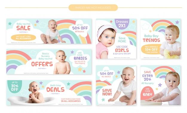 Zestaw bannerów sprzedaż dla niemowląt sklep - kolorowa tęcza