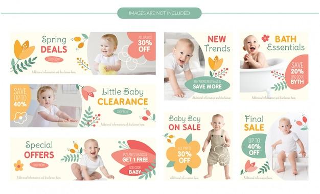 Zestaw bannerów sprzedaż dla niemowląt - wiosenne kwiaty
