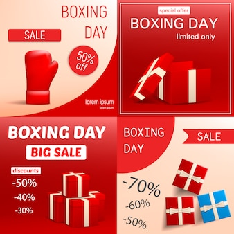 Zestaw bannerów sprzedaż dnia świąt bożego narodzenia. realistyczna ilustracja sprzedaż transparent wektor dzień boksu na projektowanie stron internetowych