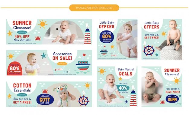 Zestaw bannerów sprzedażowych dla niemowląt - lato morskie