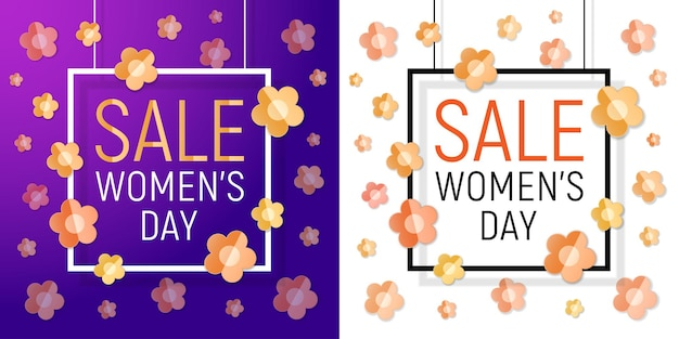 Zestaw bannerów sprzedaży dnia kobiet. marcowy dzień kobiet projekt papieru z życzeniami.