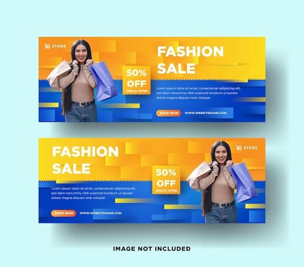 Zestaw bannerów sprzedaży mody