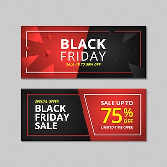 Zestaw bannerów sprzedaży w czarny piątek