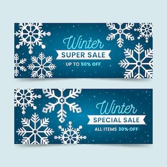 Zestaw bannerów sprzedaży zimą