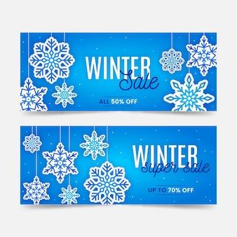 Zestaw bannerów sprzedaży zimowej