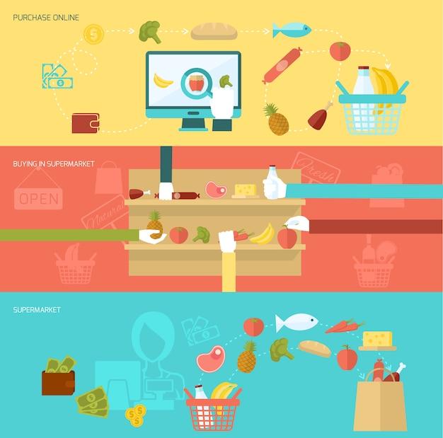 Zestaw bannerów supermarketów