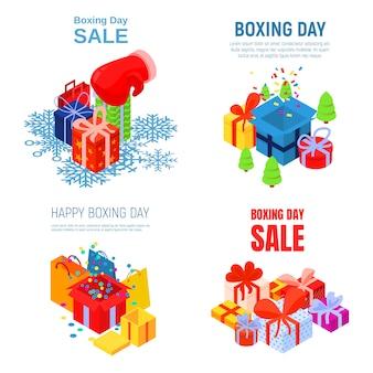 Zestaw bannerów szczęśliwy dzień boksu. izometryczny zestaw wektor baner szczęśliwy dzień boksu na projektowanie stron internetowych