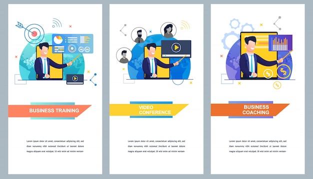 Zestaw bannerów szkolenia biznesowe i wideokonferencje oraz coaching biznesowy