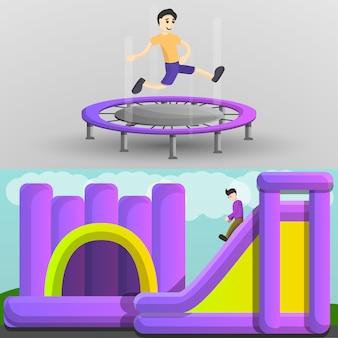 Zestaw bannerów trampoliny na placu zabaw, stylu cartoon