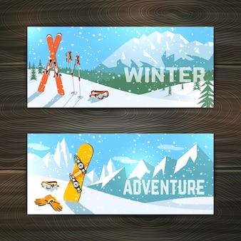Zestaw bannerów turystyki sportów zimowych