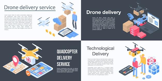 Zestaw bannerów usługi dostarczania dronów, izometryczny styl