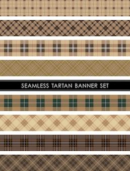 Zestaw bannerów w kratę bez szwu w szkocką kratę powtarzalny w poziomie i w pionie.