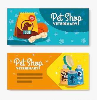 Zestaw bannerów weterynaryjnych sklep zoologiczny