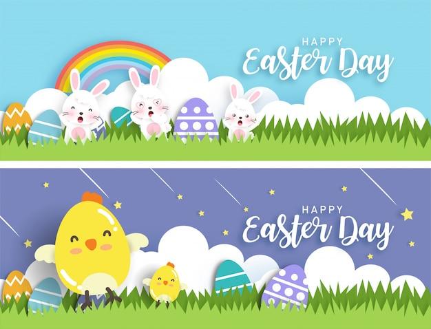 Zestaw bannerów wielkanocnych z uroczych kurczaków, królików i pisanek w stylu cięcia papieru.