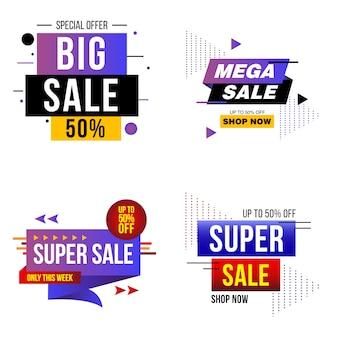 Zestaw bannerów wielkiej sprzedaży, kolekcja mega sprzedaży