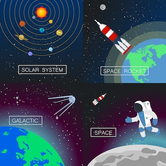 Zestaw bannerów wszechświatowych.