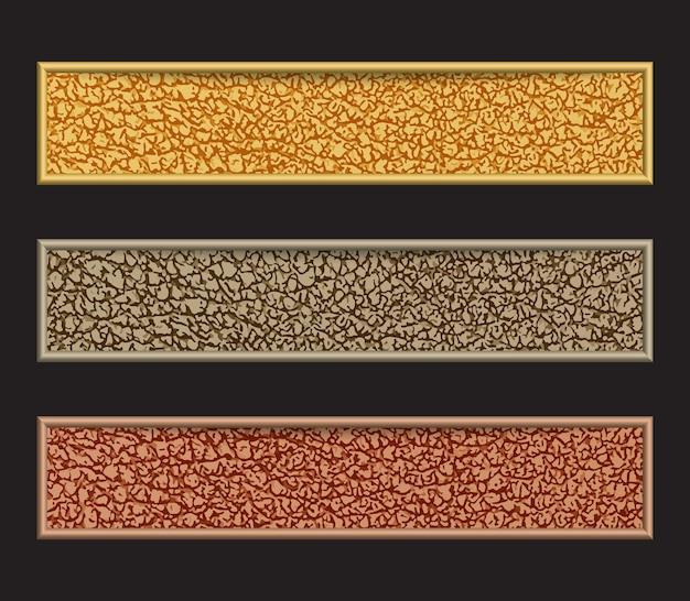 Zestaw bannerów z błyszczącymi w kolorach żółtym, szarym i brązowym na czarnym tle.