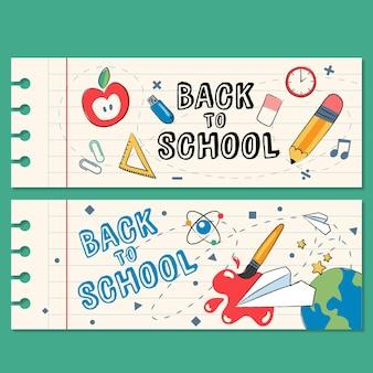 Zestaw bannerów z powrotem do szkoły