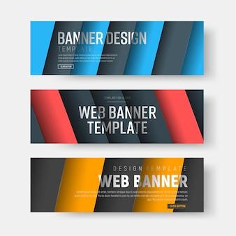 Zestaw bannerów z ukośnymi kolorowymi liniami z cieniem.