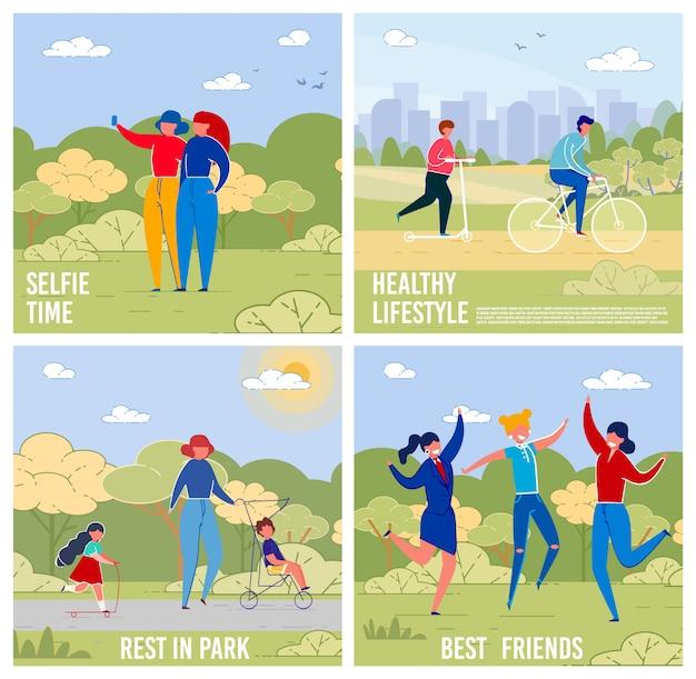 Zestaw bannerów zajęć na świeżym powietrzu i rekreacji.