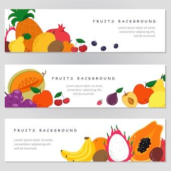 Zestaw bannerów ze świeżymi owocami. produkty biologiczne.