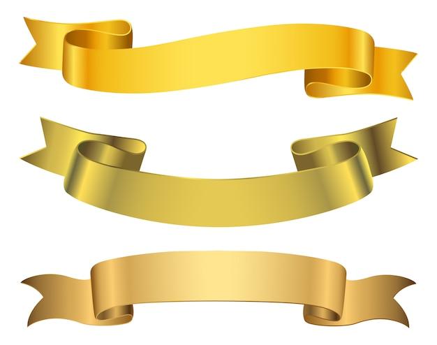 Zestaw bannerów złotą wstążką