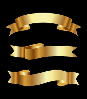 Zestaw bannerów złote wstążki