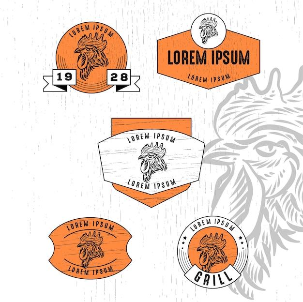 Zestaw barbeque logo w stylu vintage z plakietką z teksturą drewna