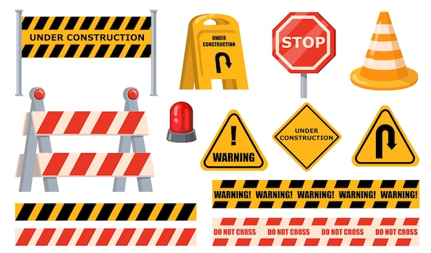 Zestaw barier drogowych. znaki ostrzegawcze i stop, pod płytami konstrukcyjnymi, żółta taśma i stożek. płaskie ilustracje wektorowe dla blokad drogowych, robót drogowych, koncepcji barykady ruchu.