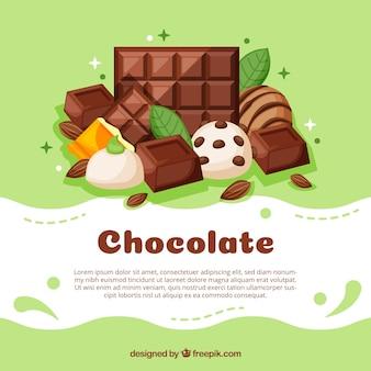 Zestaw barów i kawałków pysznej czekolady